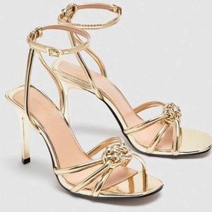 Zara Gold Front knot Strappy Heels